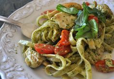 Pesto chicken and tomatoes linguine.  I like this meal.  It was a very easy meal to throw together.  My boys did not love it, but ate it anyways.  So I would say this is chick food for sure.