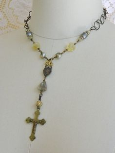 handmade jewelry necklace rosary aquamarine by atelierparis