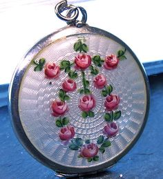 Vintage silver and Guilloche enamel roses locket