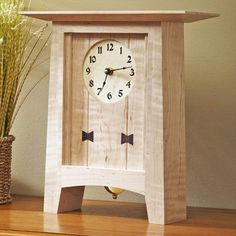 """Dress up your mantle with this 14""""-tall timeless timepiece. We used figured maple with wenge butterflies for ours, but use that piece of figured stock you've been saving for that perfect project. This project makes a beautiful and inexpensive gift that will be treasured and showcased for years."""