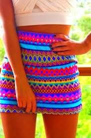 Neon pencil skirt with aztec designs. Not positive where you can get this. Adorable for summer and spring!