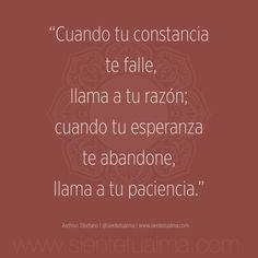"""""""Cuando tu constancia te falle, llama a tu razón; cuando tu esperanza te abandone,  llama a tu paciencia."""" Archivo Tibetano   @sientetualma   www.sientetualma.com #conocimiento #corazón #amor #ternura #conocimiento #libertad #felicidad #tranquilidad #sabiduría #acontecimientos #sonrisa #paz #alegría #frases #razón #paciencia #esperanza #constancia"""