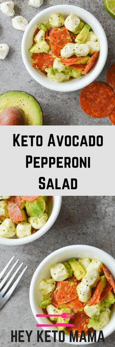 This Keto Avocado Pepperoni Salad is an easy, flavorful dish that takes just minutes to put together. It makes the perfect keto lunch! | heyketomama.com #HealthyDieting,