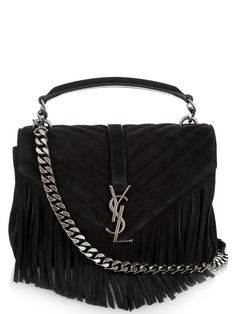 89ef74cb3f Monogram quilted fringed suede shoulder bag