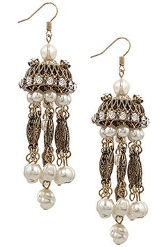 TRENDY FASHION JEWELRY FAUX PEARL FRINGE CHANDELIER EARRINGS BY FASHION DESTINATION  Antique Gold >>> Learn more by visiting the image link. (This is an affiliate link and I receive a commission for the sales)