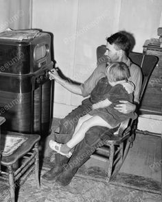 Father and Daughter Listening to Radio 1940's Vintage 8x10 Reprint of Old Photo | eBay