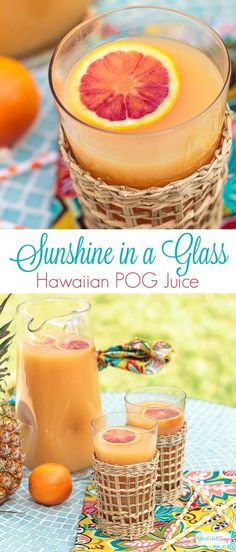 This stuff is like sunshine in a glass! Take your tastebuds on a Hawaiian vacation when you mix up this easy, all-natural, no-sugar-added recipe for homemade POG juice. Its also a great substitute for orange juice in cocktails. Guava Juice, Fruit Juice, Summer Drinks, Fun Drinks, Beverages, Summertime Drinks, Summer Parties, Detox Drinks, Smoothie Recipes