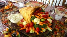 """Veggie Cornucopia - looks like cresent roll type """"shell"""" and whatever veggies you want... can't find the recipe for this - JMS"""