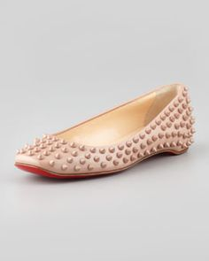 X1RSF Christian Louboutin Gozul Spiked Patent Leather Flat, Beige