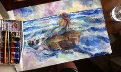 #watercolor  #acrylic #mermaid #moleskine #painting #art