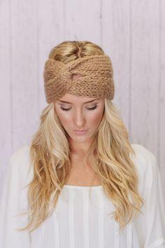 Knitted Headband Ear Warmer Grey Twist Turband Style Cozy Pinterest Favorite. $28.00, via Etsy.