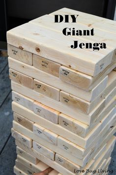 Love Bug Living: DIY Giant Jenga Outdoor Game. 8 2x4 pieces that were 8 foot long. Try and pick out clean pieces that don't have too many knots or holes. Cut each piece into 10.5 inch pieces.