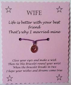 Gifts For Wife Wife gift Wife Wish Bracelet Charm bracelet Wife by GemsNJewells