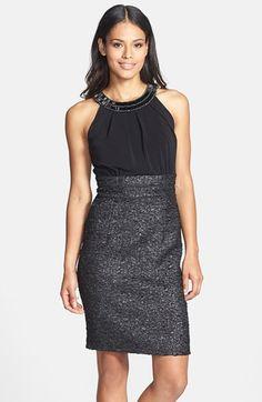 Donna Ricco Beaded Neck Sleeveless Mixed Media Dress available at #Nordstrom
