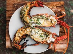 a plate of food: In this perfect summer recipe, lobster is flash-grilled, then poached in its own shell in a pool of melted garlic-parsley butter. Get the recipe for Grilled Lobster with Garlic-Parsley Butter Garlic Recipes, Top Recipes, Fish Recipes, Summer Recipes, Seafood Recipes, Parsley Recipes, Recipes Dinner, Fish Dishes, Seafood Dishes