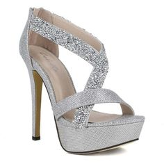 Womens Platform Sandals Strappy Rhinestones Rhinestone Embellishments... ($28) ❤ liked on Polyvore featuring shoes, sandals, heels, silver, red shoes, red platform sandals, silver strappy sandals, strap heel sandals and platform shoes