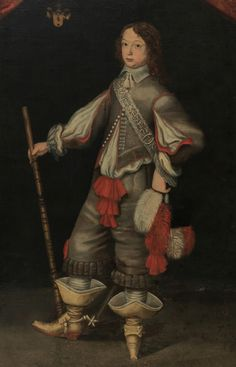 Portrait, oil on canvas, mid-1600s .Portrait of Kurt v Siegroth 7 years old . Full length wearing gray 1600 's costume with red lining and red trim . Jack boots with spurs. Does the right hand in hand , carrying a black hat with red and white plumes.
