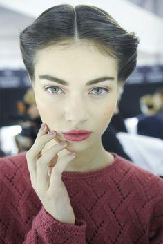 Antonina Vasylchenko backstage at Carolina Herrera Fall 2013, New York Matte Berry lips #fall #makeup