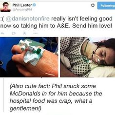 Image result for dan howell in hospital
