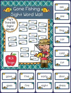 My Gone Fishing sight word wall posters feature Fry's Third 100 words. 55 pages of sight words accented with bright colors and fishing graphics!