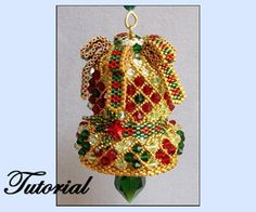 Crystal Bell Ornament Pattern by Paula Adams AKA Visions by Paula at Bead-Patterns.com