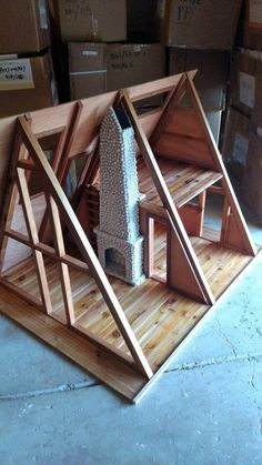 Cabin project scale A Frame Cabin project Ayfraym DIY Cabin scale A Frame Cabin project. Tiny House Cabin, Tiny House Design, Cabin Homes, Hut House, A Frame House Plans, Tiny House Plans, Triangle House, Forest House, Barbie House