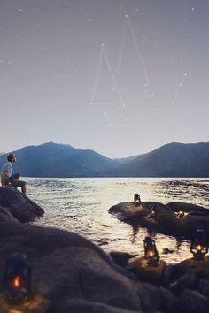 mar, estrelas, sky