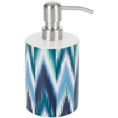 Moeve Ikat Soap Dispenser - Blue ($21) ❤ liked on Polyvore featuring home, bed & bath, bath, bath accessories, blue, blue soap dispenser, ceramic bath accessories, blue bath accessories, blue ceramic bathroom accessories and ceramic bathroom accessories