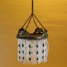 Large scale Brass Chandelier with green and white Glass Beads