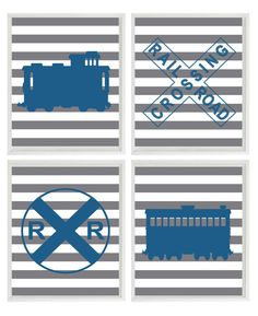 Train Art Print Set  Railroad Sign Boy Room by RizzleandRugee, $50.00