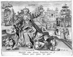Nach Maarten von der Vos; Verlegt von Philips Galle Der Kreislauf des Wechsels menschlicher Lebensverhältnisse: Reichtum bringt Hochmut hervor (Divitiae) Kupferstich