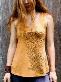 Womens tank top, hand drawn Fungus nature Art, tuscany stone mustard color, olive green.