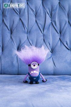 Crochet Pattern of purple monster with one eye Amigurumi