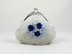 Hand embroidered coin purse, embroidered linen purse, blue floral linen pouch, silk ribbon purse by JRsbags on Etsy