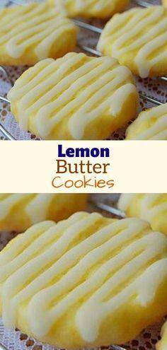 Lemon Butter Cookies Recipe, Lemon Sugar Cookies, Yummy Cookies, Cupcake Cookies, Cupcakes, Linzer Cookies, Cookie Desserts, Just Desserts, Cookie Recipes