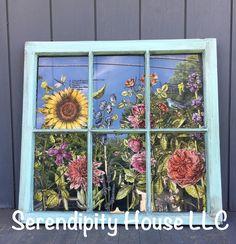 Loving this transfer make over! Old window, IOD Botanist Journal Transfer. We ship! Old Windows Painted, Painted Window Art, Antique Windows, Mirror Painting, Diy Painting, Diy Wall Art, Wall Art Decor, Old Window Decor, Window Ideas