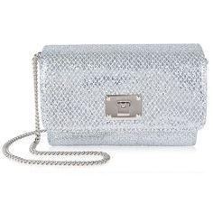 Jimmy Choo Ruby Mini Bag (26,570 PHP) ❤ liked on Polyvore featuring bags, handbags, shoulder bags, silver, glitter purse, miniature purse, chain strap purse, jimmy choo purses and mini handbags