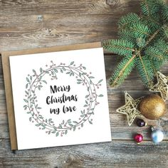 SALE - Merry Christmas My Love - Luxury Christmas Card - Christmas Card for Wife, Husband, Boyfriend, Girlfriend, Fiancé - Christmas Card