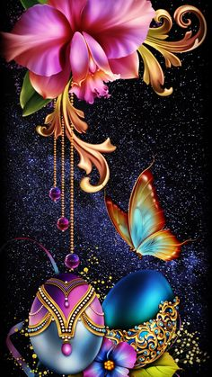 Wallpaper Iphone - Floral Fantasy - Wildas Wallpaper World Flower Background Wallpaper, Flower Phone Wallpaper, Butterfly Wallpaper, Heart Wallpaper, Apple Wallpaper, Butterfly Art, Flower Backgrounds, Cellphone Wallpaper, Colorful Wallpaper