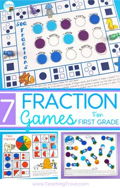 Fraction games for first grade make learning about fractions fun and easy. Perfect for using in math centers, as partner work, morning work, or extra activities for early finishers. Fraction Games, Fraction Activities, Math Games, Math Activities, Teaching Resources, Learning Fractions, Math Fractions, Multiplication, Year 1 Maths