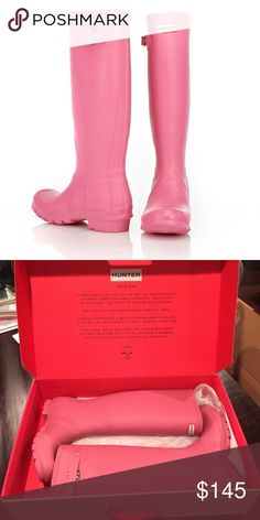 NEW Pink Hunter Boots BRAND NEW! Matte pink Hunter rain boots. Never been worn and comes from smoke-free home. Discontinued color. No trades. Hunter Boots Shoes Winter & Rain Boots