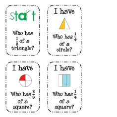 Fraction Packet of Activities (halves, thirds, fourths)1.I Have, Who Has�. Fractions {whole group activity}2.Fraction Dominoes {small g...