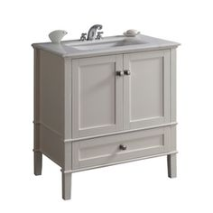 Simpli Home�Chelsea 31-in x 21.5-in White Undermount Single Sink Bathroom Vanity with Natural Marble Top