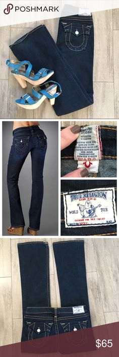 "True Religion Becky Bootcut 29x33!! These are the ever popular Becky boot cut by True Religion. Excellent condition! Original 33"" inseam!! Only slight signs of wear are on the pocket and back hem (1st photo). Worn maybe 5 times.  Gorgeous midnight blue. 29x33 ✨✨ No Trades please. True Religion Jeans Boot Cut"