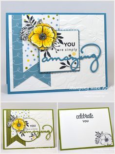 "Hi Stampers, Today we had a sketch challenge and I decided to use a wonderful set from the Sale-A-Bration catalog called ""Amazing You"" for the first time . It not only has the stamp set but a coordinating die set. Stampin Up Catalog, Friendship Cards, Handmade Birthday Cards, Card Sketches, Scrapbook Cards, Scrapbooking, Copics, Stamping Up, Flower Cards"