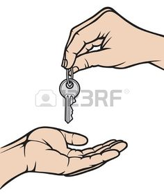 hand giving a key to another hand  handing over the keys, a person handing over the key to another person