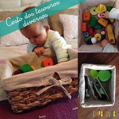 Cestos de Tesouros são uma ótima brincadeira de descoberta sensorial para estimular os bebês que já conseguem se sentar sem apoio.