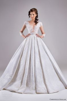 chrystelle atallah bridal spring 2015 ball gown wedding dress illusion sleeves full view