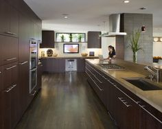 Concrete counter top, dark wood cabinets and floor, sleek, clean style
