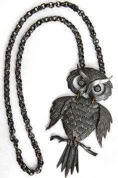 "Vtg 4"" Owl Necklace Pewter Segmented Pendant Articulated Wiggle Large Lg Move #Unbranded #Pendant"